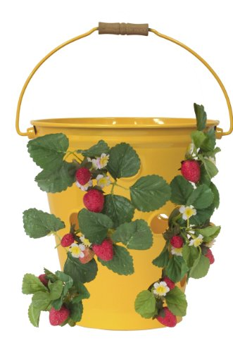 (HIT 8494E SAFF Enameled Floor or Hanging Strawberry/Herb Planter, 12 by 12-Inch, Saffron)