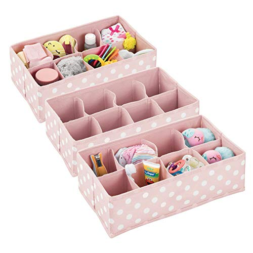 (mDesign Soft Fabric Dresser Drawer and Closet Storage Organizer for Child/Kids Room or Nursery - 8 Section Rectangular Organizer - Fun Polka Dot Print, 3 Pack - Pink with White Dots)