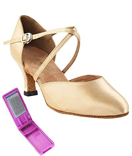 Scarpe Da Ballo Latino Per Ballare Tango Latino Molto Fine Per Le Donne 9691 2,5 Tacco + Scarpa Pieghevole Scarpa In Bundle Di Raso Marrone Chiaro