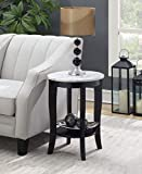 Convenience Concepts 7106259WMBL American Heritage Round End Table, White Faux Marble/Black