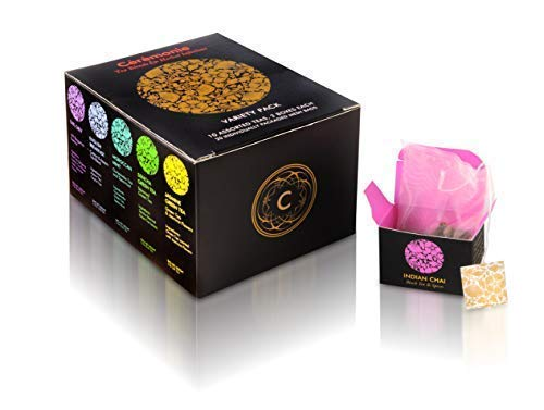 Variety Sampler Gourmet Gift Pack, by Ceremonie Tea. A Collection Organized in 10 Assorted Sample Flavors, Set of 2 Each Mini Cube Tea Bags (20 total cubes with silky bags)