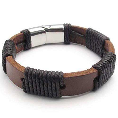 Epinki Stainless Steel Bracelet, Mens Round Bracelet Silver Brown Length 8.5 Inch