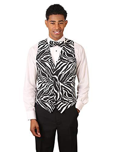 Vest With Bowtie (Men's Black & White Zebra Print Vest and Bow Tie Set)