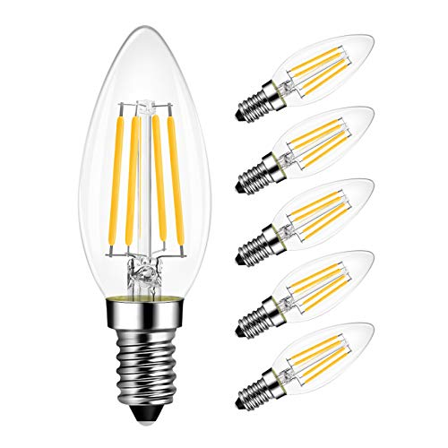 LVWIT B11 LED Filament Bulb E12 Candelabra Base,4W(40 Watt Equivalent) 2700K Warm White Non-Dimmable, Chandelier Decorative Candle Light Bulbs, Pack of 6