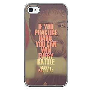 Manny Pacquiao iPhone 4s Tranparent Edge Case - Quote if you practice hard