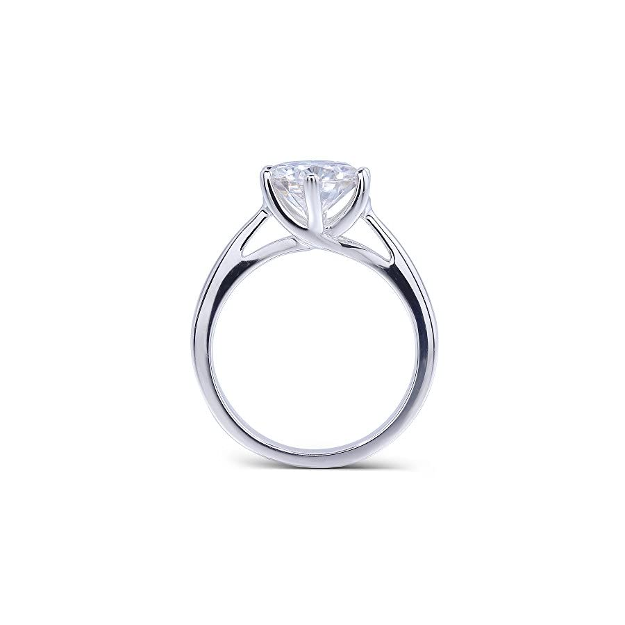 TransGems Platinum Plated Silver,1.2ct H I Color Round Moissanite Engagement Solitaire Rings for Women