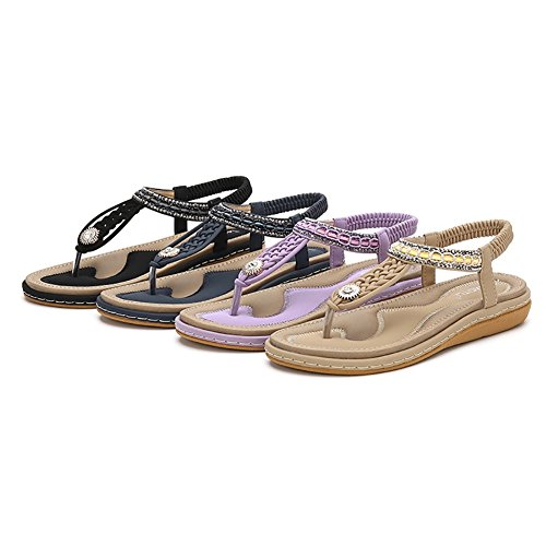Meeshine Womens Summer Beach Flat Sandals Rhinestone Shiny Beads Slip On Flip Flops Thong Shoes(11 B(M) US,Black 04) by Meeshine (Image #6)