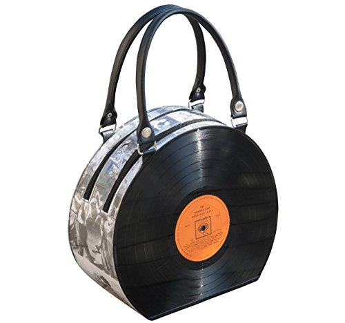 Large vinyl record handbag - FREE SHIPPING - upcycled style eco friendly vegan recycled reclaimed salvaged handmade gifts bag bags handbags gift for singer musician album piano music lover player