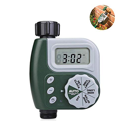 Goglor Water Timer,Single Outlet Programmable Hose Faucet Timer.Waterproof Outdoor Garden Watering Irrigation Timer Automatic On Off with Digital LCD Display for Yards,Greenhouses,Flowerbeds (Green)