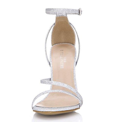 Sandales À Talons Simples Dété Mariée Demoiselle Dhonneur Chaussures Femmes Ouvertes Orteils Pompes Prime Argent