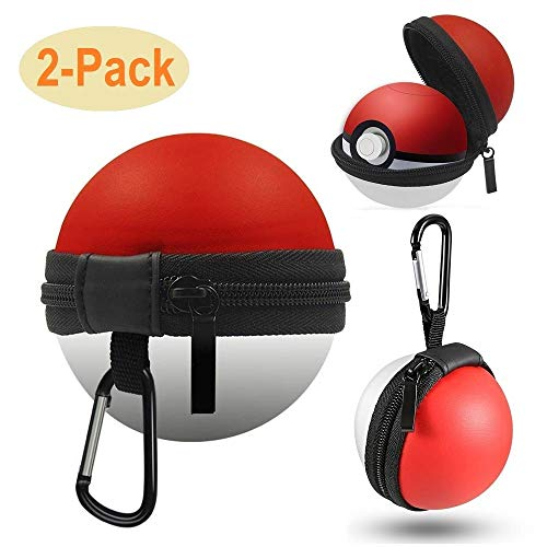 Pokeball Plus Case, Tangchao Portable Carrying Bag with Carabiner Keychain for Pokemon Lets Go Pikachu or Pokemon Eevee Game from Nintendo Switch(2 Packs)
