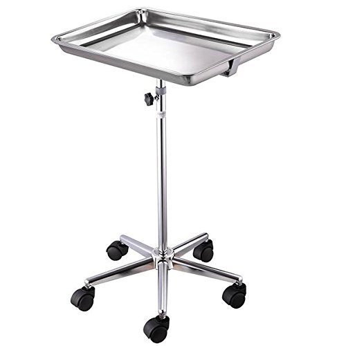 Durable Mayo Instrument Stand Adjustable Height Sitting Standing w/ Removable Stainless Steel Tray & 5 Legs for Home Medical Equipment Personal Care Tattoo - Instrument Mobile Stand