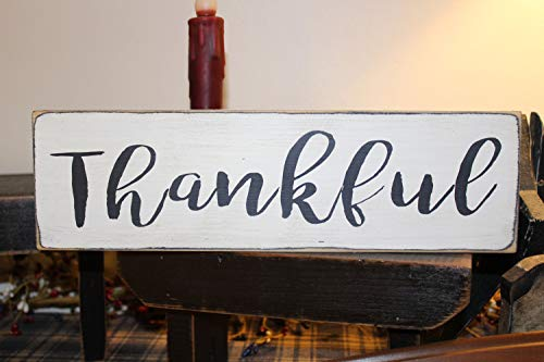 Thankful Wood Sign, Give Thanks, Wood Message Block, Family Sign, Grateful, Marriage, Wedding, Family, Mother's Day, Blessed, Home (Thanks Give Blocks)