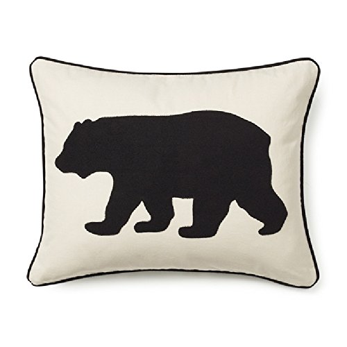 1 Piece 20x16 Black Off-White Bear Theme Throw Pillow, Wildlife Animal Print Sofa Pillow, Hunting Design, Southwest Cottage Lodge Applique Pattern, Mountain Animals, Rectangle Shape, Fabric Cotton
