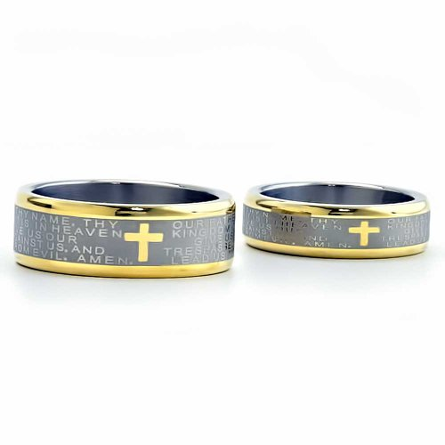 FlameReflection Two Tone Titanium His & Hers Engagement Wedding Ring Sets Cross & Bible - Cross Wedding Set Ring