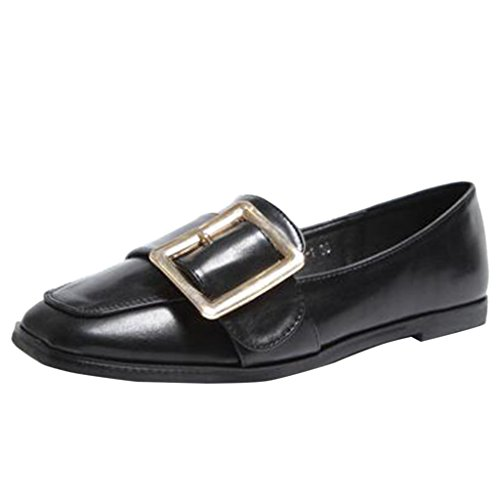Binying Women's Square Toe Shallow Mouth Belt Buckle Style Low-Top Flat Pumps Black EDWy6tq