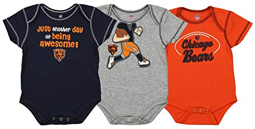 Outerstuff NFL Boys Newborn and Infant Assorted Team 3 Pack Creeper Set, Chicago Bears 3-6 Months