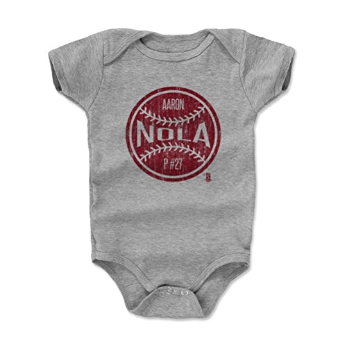 500 LEVEL's Aaron Nola Infant & Baby Onesie Romper 3-6M Heather Gray - Aaron Nola Ball R - Philadelphia Baseball Fan Gear Officially Licensed by the MLB Players Association