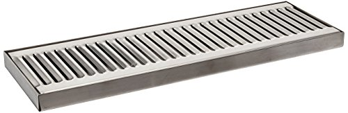 (ACU Precision Sheet Metal 0100-15 Surface Mount Drip Tray, No Drain, Stainless Steel, 4 Brushed Finish, 5