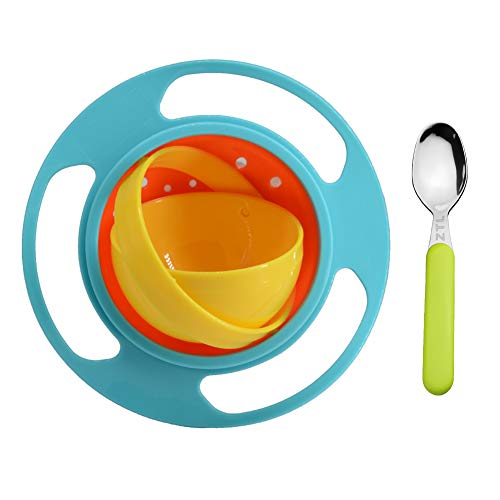 Ztl Baby Gyro Bowl and Spoon Set 360 Dgree Rotation Spill Resistant Gyroscopic Bowl with Lid Toy Tableware for Kids Toddlers