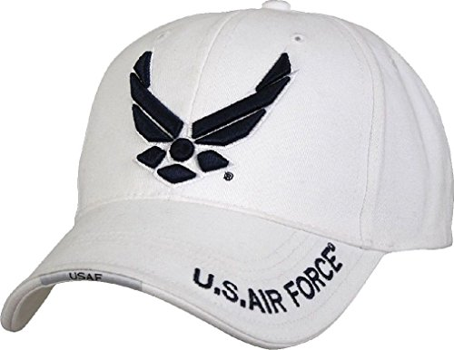 White Deluxe US Air Force Wing Logo Low Profile Baseball Hat Cap (Deluxe Tri Fold Shovel)