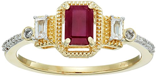 10k Yellow Gold Genuine Burmese Ruby Octagon with Genuine Baguette Sapphire and White Diamond Accent Fashion Ring, Size 8