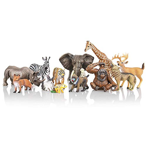 TOYMANY 12PCS Realistic Jungle Animal Figurines, 2-6