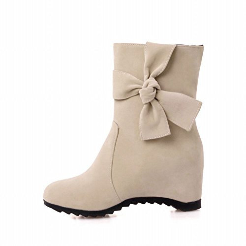 Fashion Slouch Boots Bow on Latasa Pull heel Dress Suede Womens Mid Boots Short Beige Pq8w5Z8
