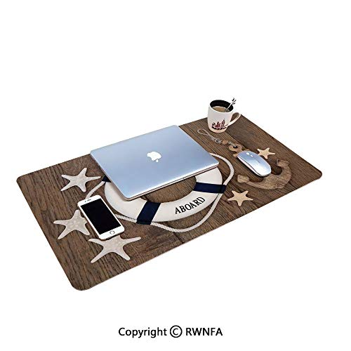 - Lifebuoy Anchor Starfish Seashells Over Old Oak Background Marine Lifestyle Office and Home Waterproof Coated Mouse pad,(11.8