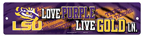 (NCAA LSU Tigers 16-Inch Plastic Street Sign Décor)