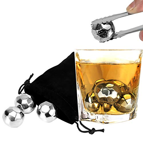 Whiskey Stones Gift Set - Set of 8 with Tongs Chilling Rocks Reusable Stainless Steel Ice Cubes for Wine Beer Best Bar Accessories