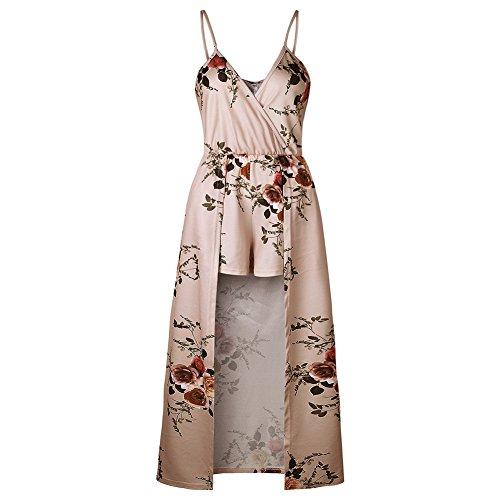 bd1d455cc54 WECHERY Women s Sleeveless V Neck Floral Print Split Beach Party Maxi Romper  Jumpsuit Dress