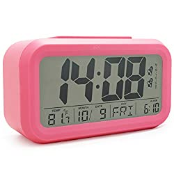 JCC Dual Alarm Optional Weekday Alarm Automatic Sensor Back Light Bedside Digital Alarm Clock with Date, Day Temperature Display and Snooze Function (Pink)