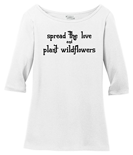 Ladies 3/4 Sleeve Tee Spread The Love Plant Wildflowers Bright White XL