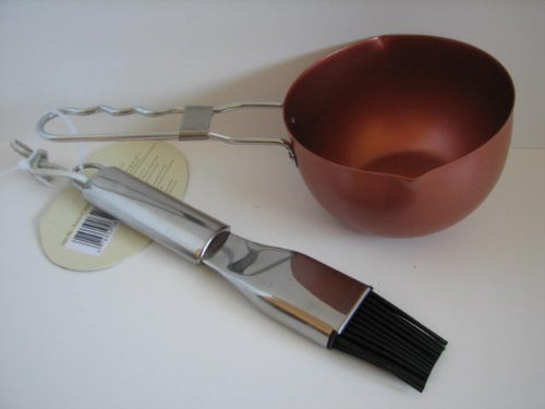 Copper Non-Stick Grilling Sauce Pot and Silicone Basting Bru