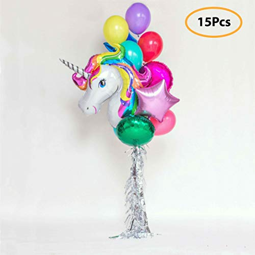 7 Colors Kids Unicorn Balloon Bouquet | Unicorn Party Decoration for Birthday Party, Baby Shower, Wedding | Set Includes Mylar Foil Balloons, Latex Balloons, Silver Fringe | Unicorn Party Supplies