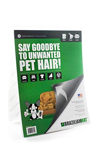BrazilianMat Lint and Pet Hair Removal Sheets - Removes Lint, Fuzz, Hair, Dandruff, and Fur from Clothing, Furniture, and Car Interior - 25 Adhesive Sheets