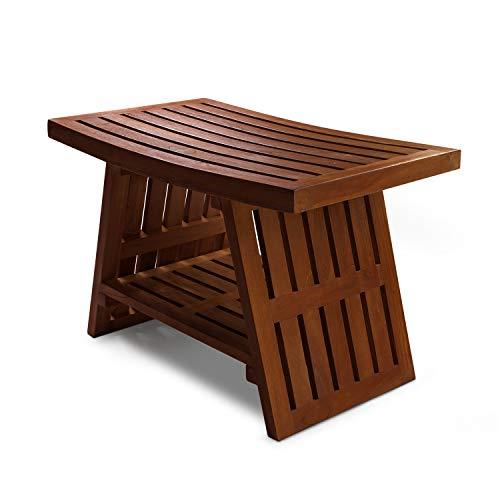 HydroTeak Hana Original Teak Shower Bench with Shelf, Teak Wood Bath Chair for Spa, Pool, Bathroom, Coated with Teak Oil (HTST04) (Fully ()