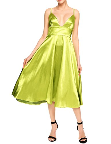 Angvns Women Sexy V Neck Sleeveless Swing Cocktail Evening Satin Party Dress