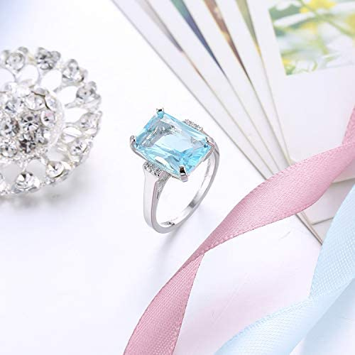 ,Sea Blue AopaoZ Rhinestone Butterfly Ring Natural Topaz Stone Crystal Engagement Ring Charm Gemstone Ring Women Jewelry Size// 6//7//8//9//10 Size 10