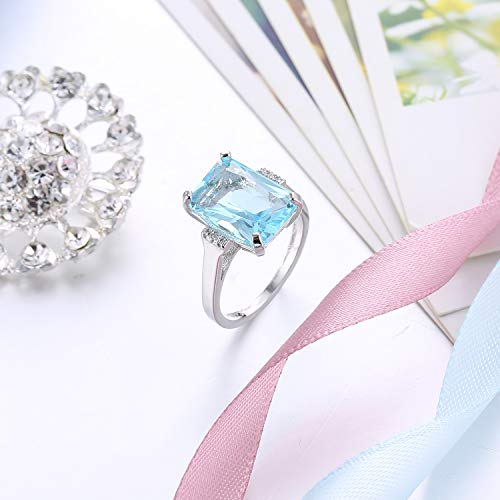 (Sumanee Vintage Women 925 Silver Aquamarine Gemstone Ring Wedding Jewelry Size 6-10 (10))