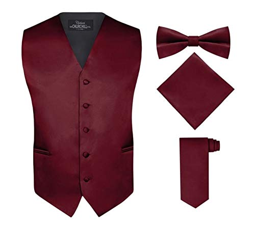 (S.H. Churchill & Co. Men's 4 Piece Vest Set, with Bow Tie, Neck Tie & Pocket Hankie - Burgundy,)