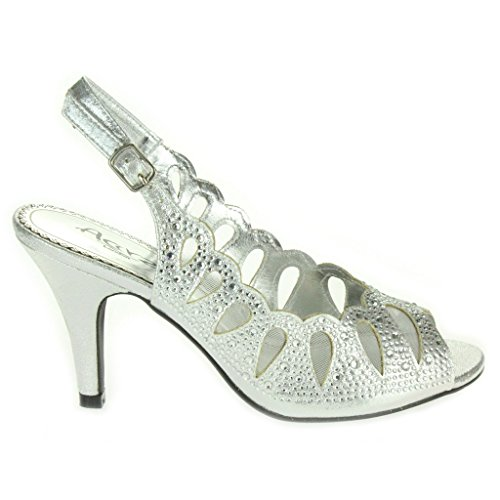 Mujer Señoras Corte con laser Diamante Peep Toe Tacón medio Noche Boda Fiesta Paseo Sandalias Zapatos Talla Plata