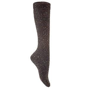 Lian LifeStyle Women's 5 Pairs Pack High Crew Knee-High Wool Boot Socks Size 7-9 (Black)