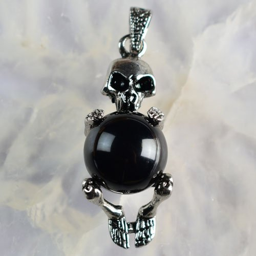 A3900 5Pcs K-Gold plated Copper Black Agate Skull Pendant Beads