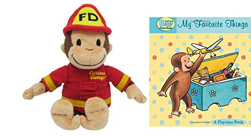 Curious George Baby Bundle Gift Set Doll Mini Jingler Toy Stuffed Animal- 8 Inches & Curious Baby My Favorite Things (Padded Board Book), Including Yellow Gift Bag and Tissue Paper (FiremanGeorge)