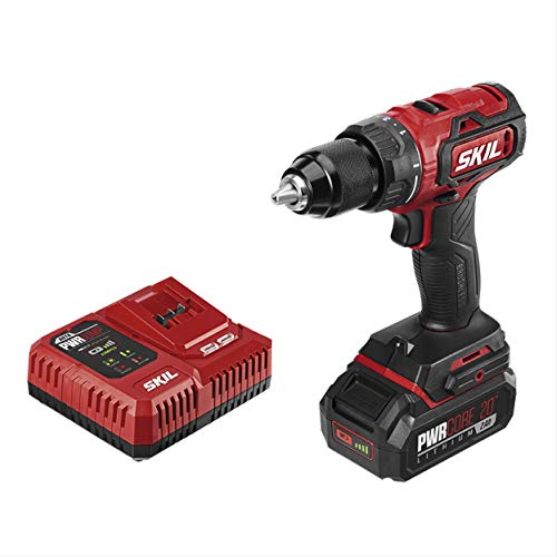 SKIL PWRCore 20 Brushless 20V 1/2 Inch Drill Driver, Includes 2.0Ah Lithium Battery and PWRJump Charger – DL529302