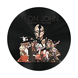 PZY L KING Elton John Black Wall Clock, Silent Non Ticking - 10 Inch Round Easy to Read Home/Office/School Clock