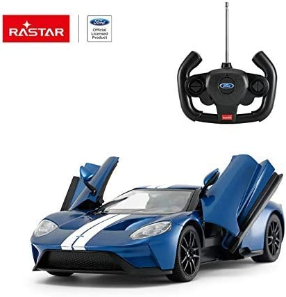 RASTAR Radio Remote Control 1/14 Scale Ford GT Licensed RC Model Car w/Open Doors (Blue)