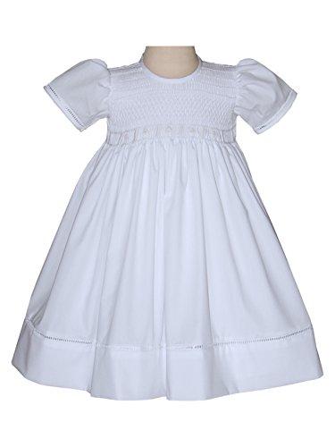 White Smocked Dress (Carouselwear Hand Smocked All White Communion Girls Dress Christening Gown)